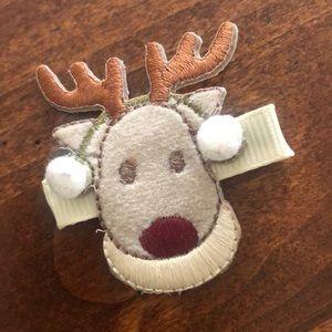 Hair clip,  cute Rudolph hair accessory.
